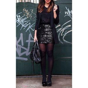 Theory • Black Sequin Mini Skirt Roxanne Spread